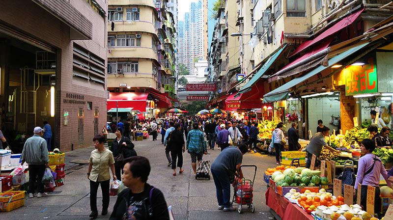 Street market in hong kong china