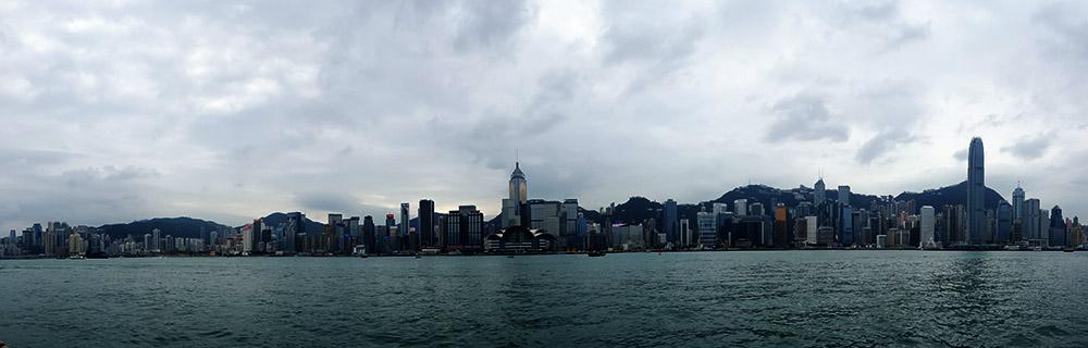 Panoramic shot of Victoria Harbour Hong Kong