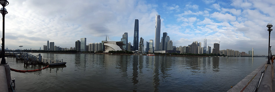 Panorama of Guangzhou skyline near the Pearl River Delta