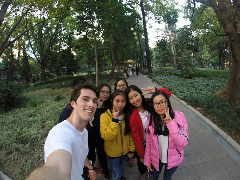 taking a selfie with chinese people