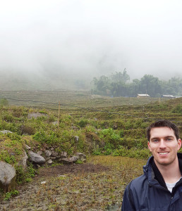 harrison bevins in the rice fields in Sapa Vietnam