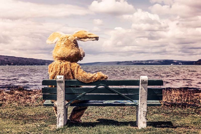 man in bunny suit looking at lake